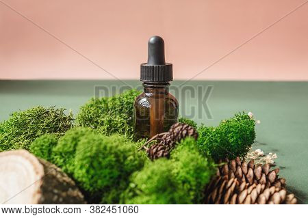 Blank Amber Glass Essential Oil Bottle In Moss Front View. Natural Organic Cosmetics, Herbal Essence