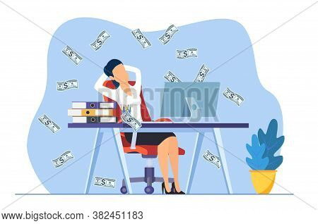Businesswoman Sitting On The Office Desk Workplace Under Money Rain Banknotes Falling. Pay Check, Ea