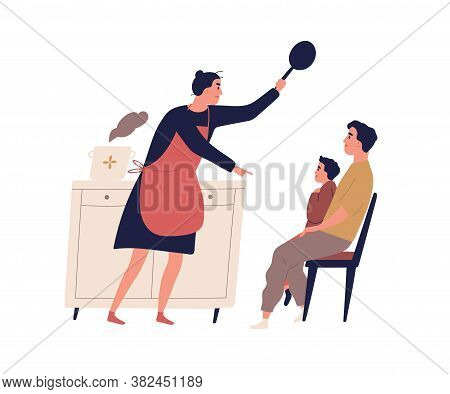 Angry Housewife Holding Skillet Scolding Son Vector Flat Illustration. Father Protect Little Kid Dur