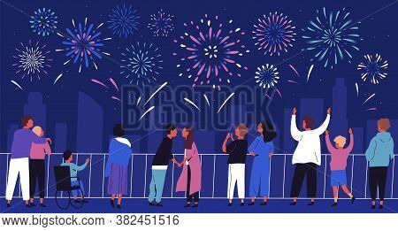 Crowd Of People Admiring Celebratory Fireworks At Night Cityscape Vector Flat Illustration. Citizens