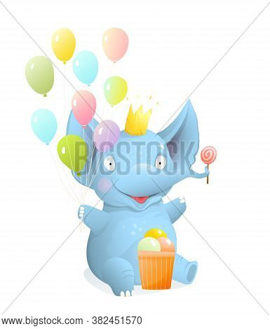 Baby Elephant Sitting And Smiling With Balloons And Ice Cream, Kids Isolated Clip Art, Vector Realis