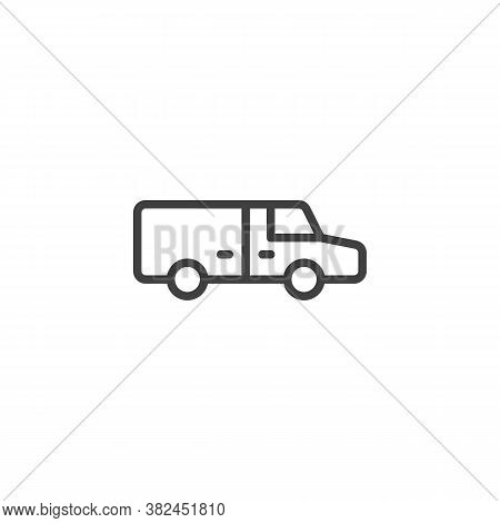Refrigerator, Truck Line Icon. Linear Style Sign For Mobile Concept And Web Design. Fridge Lorry Out