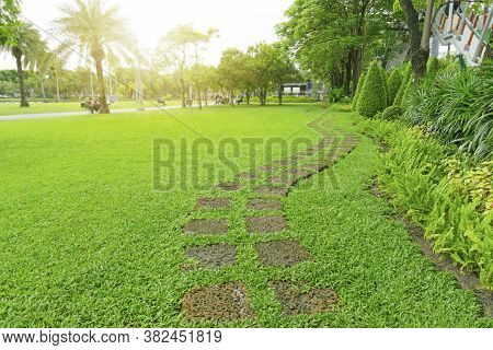 Curve Paving Pattern Of Laterite Steping Stone On Fresh Green Grass Smooth Lawn In The Public Park,