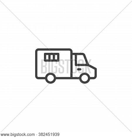 Police Truck Line Icon. Linear Style Sign For Mobile Concept And Web Design. Prisoner Truck, Paddy W