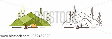 Set Of Colorful And Monochrome Touristic Camp At Mountains Landscape Vector Illustration In Line Art