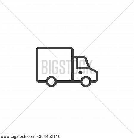 Delivery Truck Line Icon. Linear Style Sign For Mobile Concept And Web Design. Van Truck Outline Vec