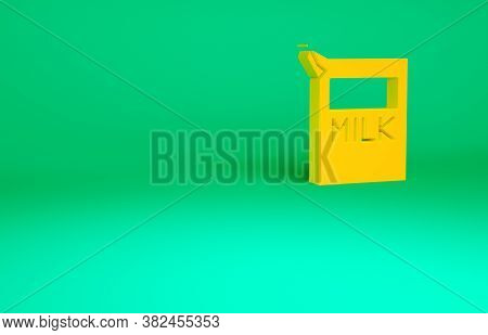 Orange Paper Package For Milk Icon Isolated On Green Background. Milk Packet Sign. Minimalism Concep