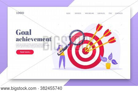 Goal Achievement Business Concept Sport Target Icon And Arrow In The Bullseye. Tiny Person With Magn