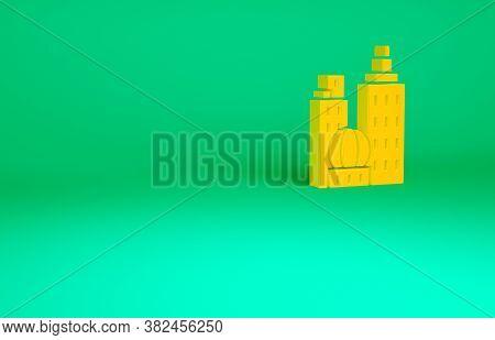 Orange City Landscape Icon Isolated On Green Background. Metropolis Architecture Panoramic Landscape