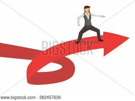 Business Metaphor Of Businesswoman Surfing On A Red Arrow Wave. Concept Of Exploring The Volatile Fi
