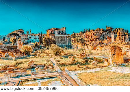 Archaeological And Historical Objects In Rome, United By The Name - Roman Forum. Italy.