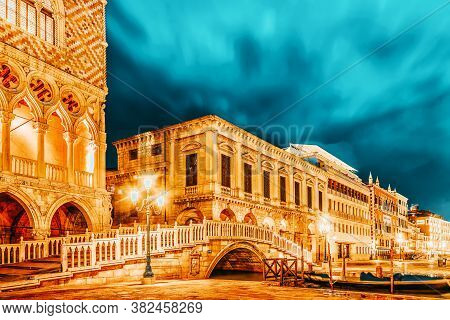 Embankment Of The Grand Canal And The Doge's Palace (palazzo Ducale) In Night Time, Venice. Italy.