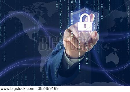 Cyber Security Concept. Man Using Virtual Screen With Padlock Illustration, Closeup