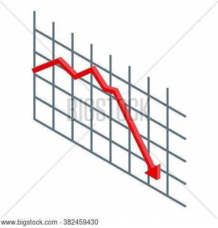 Jobless Low Graph Icon. Isometric Of Jobless Low Graph Vector Icon For Web Design Isolated On White