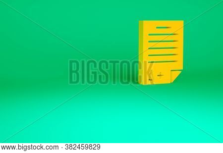 Orange Exam Sheet With A Plus Grade Icon Isolated On Green Background. Test Paper, Exam, Or Survey C
