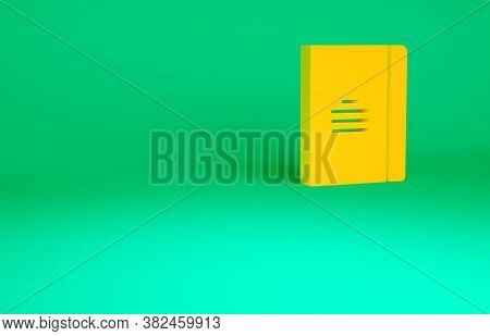 Orange Notebook Icon Isolated On Green Background. Spiral Notepad Icon. School Notebook. Writing Pad
