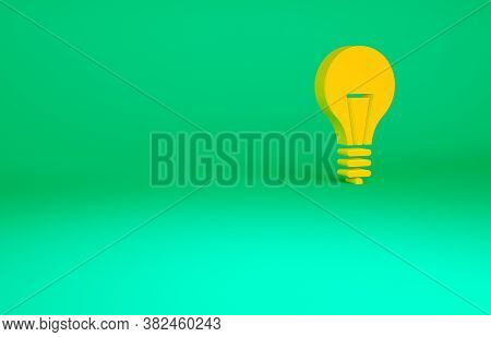 Orange Light Bulb With Concept Of Idea Icon Isolated On Green Background. Energy And Idea Symbol. In