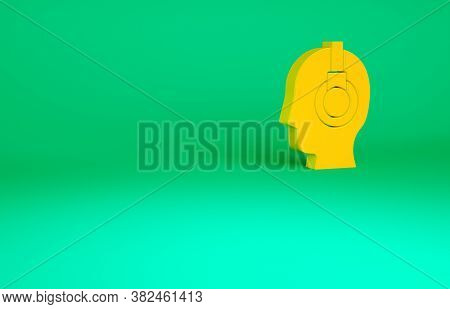 Orange Man With A Headset Icon Isolated On Green Background. Support Operator In Touch. Concept For