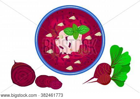 Beetroot Soup Isolated On White Background. Delicious Hot Borscht Soup And Beetroot Slices Near. Tas