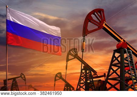 Russia Oil Industry Concept, Industrial Illustration. Russia Flag And Oil Wells And The Red And Blue