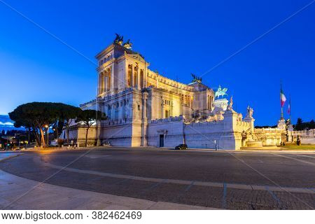 Architecture of the Vittorio Emanuele II Monument in Rome at night, Italy