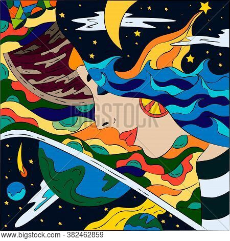 Bright Abstract Illustration On A Free Theme. Surreal Fantasy Vector Graphics.
