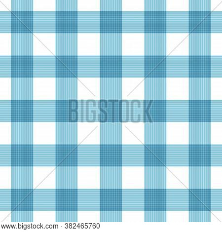 Vector Seamless Plaid Checkered Gingham Pattern Background. Blue White Fabric Texture. Abstract Geom