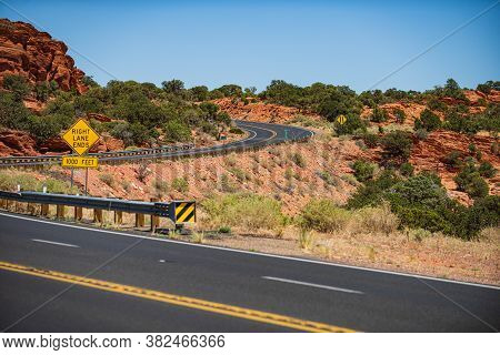 Long Desert Highway California. Hilly Country Road