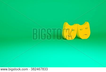 Orange Comedy And Tragedy Theatrical Masks Icon Isolated On Green Background. Minimalism Concept. 3d