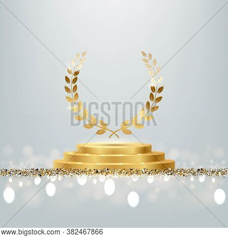 Golden Award Round Podium With Laurel Wreath, Shiny Glitter And Sparkles Isolated On Light Backgroun