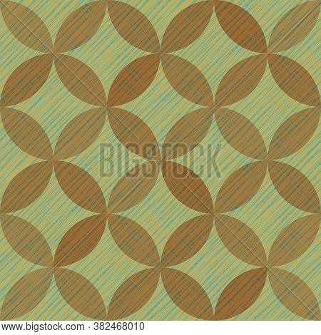 Interlacing Circles Parts Vintage Seamless Vector Pattern. Guatrefoil Flower Green Medieval Endless