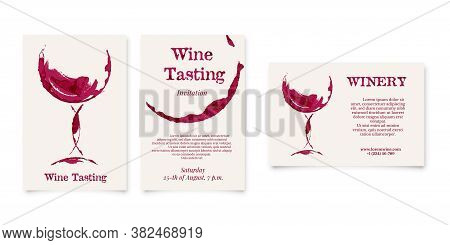 Set Of Wine Testing And Winery Card In Shape Of Wineglass, Bottle Stain, Graphic Design On White Bac