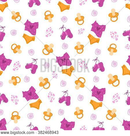 Childhood Or Baby Shower Party Theme Seamless Pattern - Nipple, Baby Clothes, Undershirt, Diaper, Bo