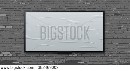 White Glued Blank Billboard On Brick Wall Background. Wet Wrinkled Realistic Paper Sheet. Street Or