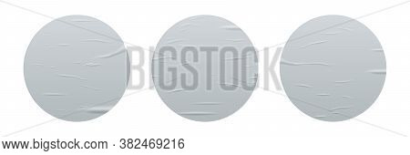 Glued Round Stickers Set Isolated On White Background. Vector Realistic Crumpled Posters Bundle. Wet