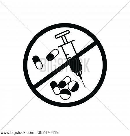 Drug Stop Icon, Stop Over Dose, International Overdose Day. Design Template Vector