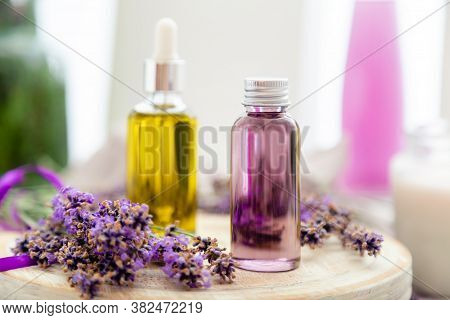 Lavender Serum, Skincare Oil, Lavender Essential Oil, Gel. Set Lavender Bath Cosmetics Products In B