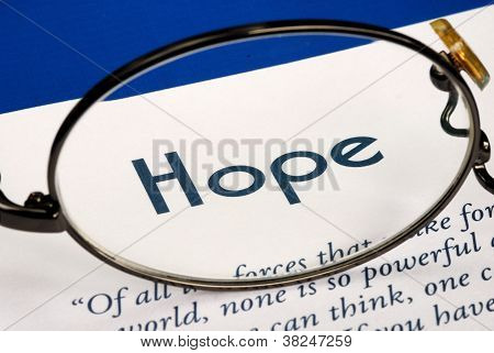 Focus on the word Hope concepts of expectation and future