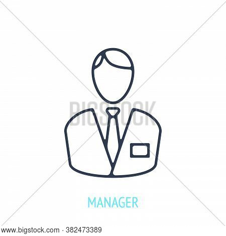 Office Worker In A Business Suit. Outline Icon. Vector Illustration. Symbols Of Business, Finance An