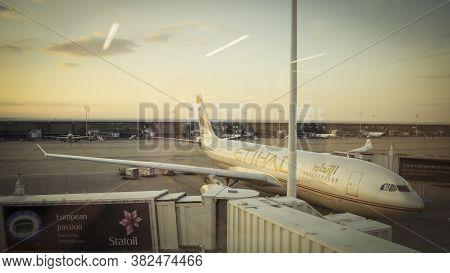 Zaventem, Belgium, November 2013: Etihad Airways Airplane Parked At The Gates Of The Airport