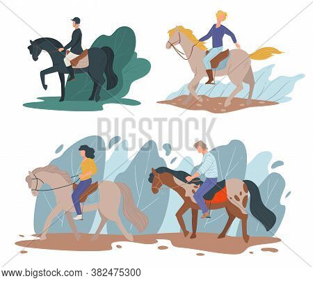 Horse Riding Sports, Equine Hobby Of People Vector