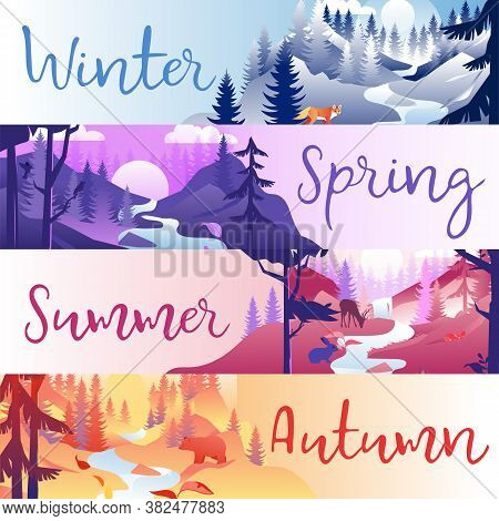 Wild Nature, Seasons Of The Year Concept. A Set Of Horizontal Stripes With Different Seasons Of The