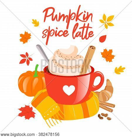 Warming Drinks Concept. Pumpkin Latte, Autumn Color Poster Good For Posters, Greeting Cards, Banners