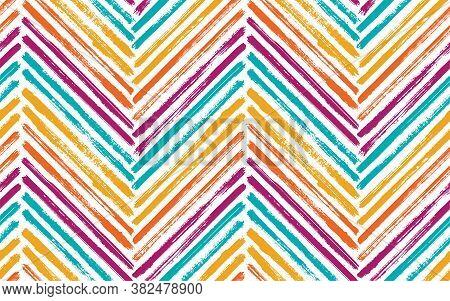 Scrapbook Chevron Fashion Print Vector Seamless Pattern. Paintbrush Strokes Geometric Stripes. Hand
