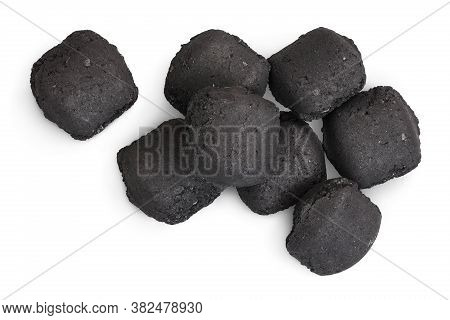Bbq Charcoal Briquette Isolated On White Background With Clipping Path And Full Depth Of Field. Top