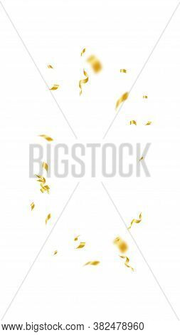 Streamers And Confetti. Gold Streamers Tinsel And Foil Ribbons. Confetti Vignette On White Backgroun