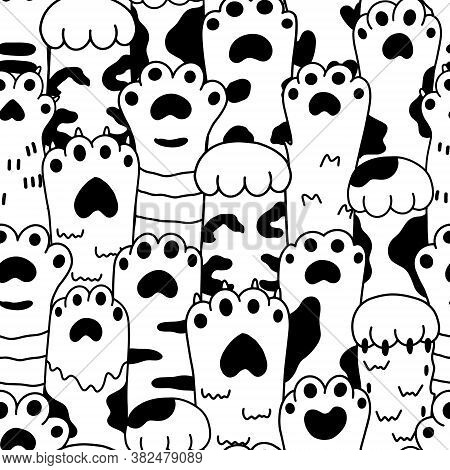 Vector Drawings Graphics Black Sketch Paw Pets Seamless Pattern. Collection Of Various Cute Cartoon