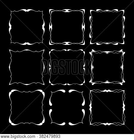 Set Of 9 White Frames For Text On A Black Background. Vintage Ornament Greeting Card Vector Template