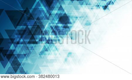 Blue triangles abstract technology low poly background