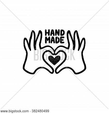 Hand Made Icon Or Logo. Vintage Stamp Icon With Hands And Heart Image And Handmade Lettering.